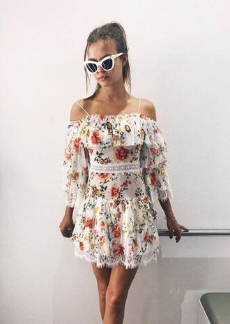 dress floral floral dress sunglasses off the shoulder off the shoulder dress josephine skriver spring dress spring outfits instagram mini dress