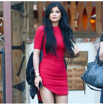 dress high-low dresses kylie jenner red dress sexy party dresses summer dress fashion celebrity style jewels jewelry kylie jenner jewelry bracelets stacked bracelets