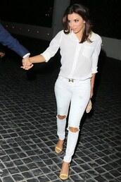 jeans,ripped jeans,eva longoria,white,white shirt,white jeans,sandals,shoes,white ripped jeans