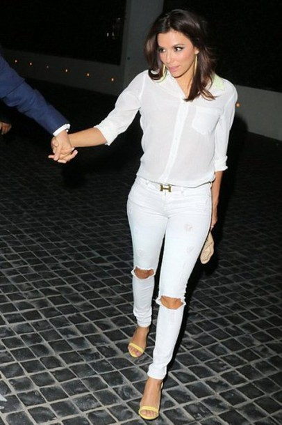 jeans ripped jeans eva longoria white white shirt white jeans sandals shoes white ripped jeans