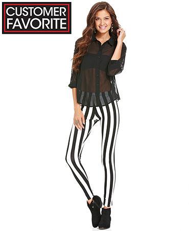 Material Girl Juniors Pants, Striped Leggings - Juniors Pants & Leggings - Macy's