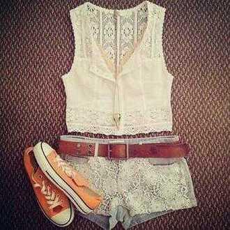 blouse shoes short belt shorts