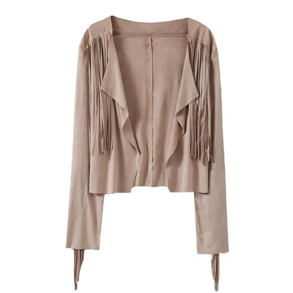 Faux suede drape jacket with fringe detailing