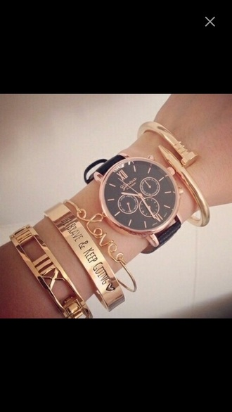jewels watch rose gold black leather gold bracelets quote on it