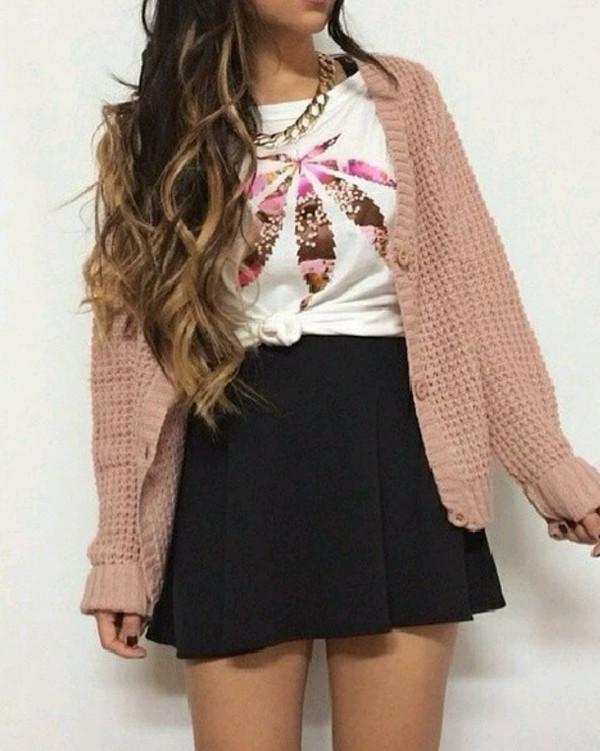 shirt necklace cardigan skirt circle skirt black pink gold white top crewneck bag jacket t-shirt oversized cardigan