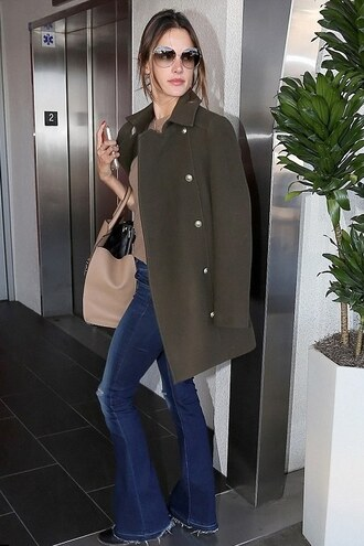 jeans denim alessandra ambrosio coat bag