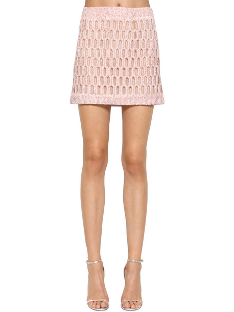ERMANNO SCERVINO Sequined Silk Knit Skirt in pink