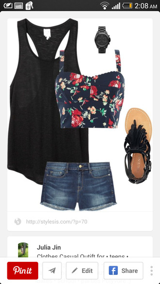 blouse floral crop top black tank top