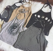 shirt,yin yang,top,tank top,vest,cute,grunge,bohemian,alternative,moon,luna,halter neck,halter vest,black,peace,t-shirt,moon shirt,striped shirt,ying yang tank top,crop tops,hippie shirt,boho shirt,blouse,jeans,white,grey,beige,yang,tumblr,phases,phase,indie,rock,teenagers,girl,stripes,flowers,floral,pattern,summer,spring,sun,sunny,hot,halter top,colorful,jing jang,daisy,moon phases,outfit,halter crop top,vintage,90s style,black and white,vintage soul,90's shirt,nude,gold,striped top