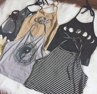 shirt yin yang tank top t-shirt top moon shirt striped shirt ying yang tank top crop tops hippie shirt boho shirt blouse black moon halter neck jeans white grey beige yang tumblr phases phase cute indie alternative rock teenagers girl stripes flowers floral pattern summer spring sun sunny hot grunge halter top colorful jing jang daisy moon phases outfit halter crop top vintage 90s style black and white vintage soul 90's shirt nude gold striped top