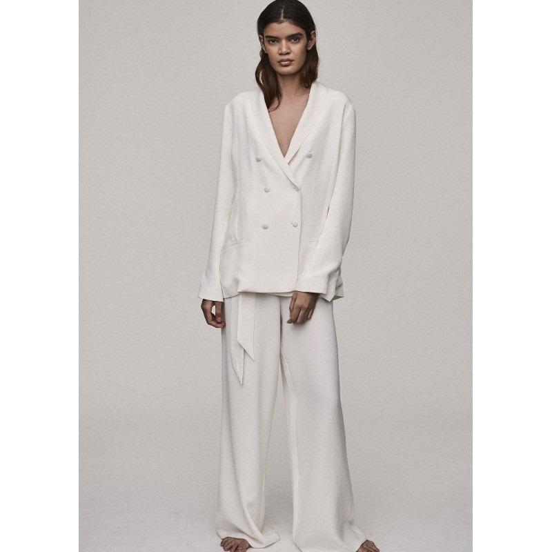 Rivello White Silk Crepe Wide Leg Trouser