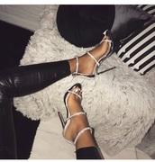 shoes,silver sparkly heels,silver heels,stunning diamanté heels