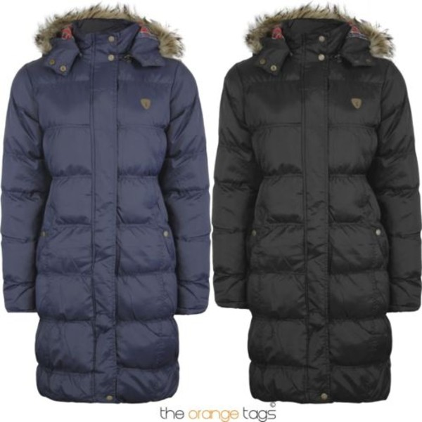 NEW LADIES FUR LONG HOODED QUILTED PADDED PARKA JACKET WOMENS COAT ...