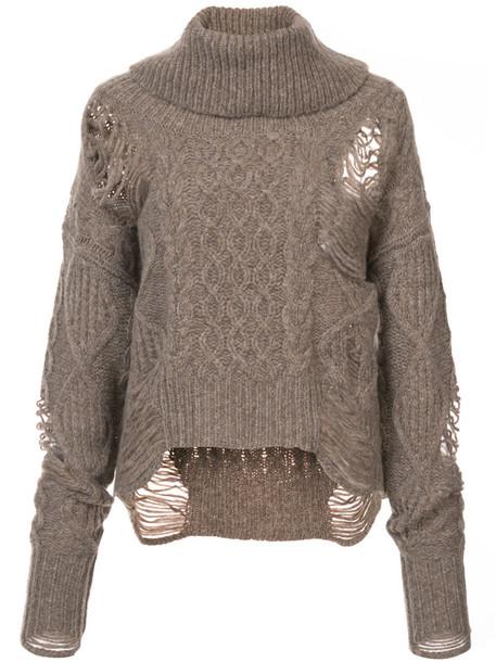 sweater women wool brown