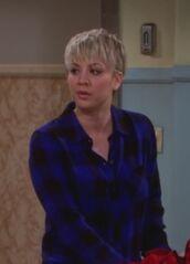 shirt,penny,blue,cobalt,big bang theory,kaley cuoco,cobalt blue,check,flannel shirt,blue shirt