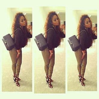 bag pants high heels black girls killin it