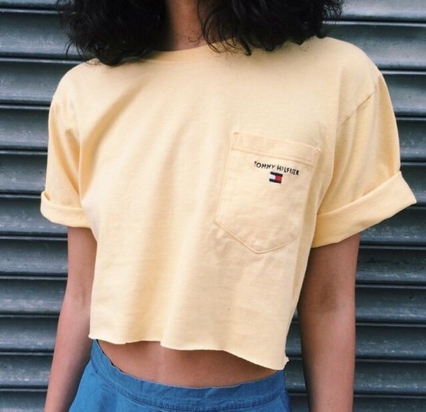 a381002488e9d4 t-shirt, tommy hilfiger, yellow, crop tops, t-shirt, vintage, crop ...