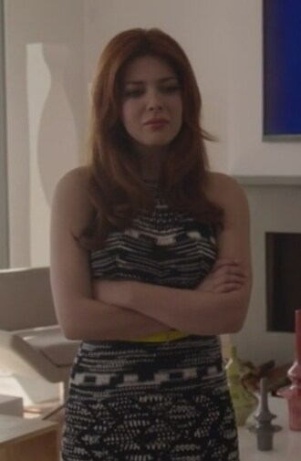 dress black and white knit revenge elena satine crochet a-line louise ellis