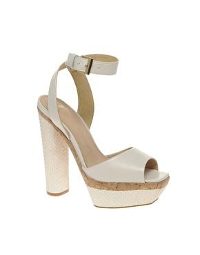 Asos harper leather platform heeled sandals with snake effect at asos