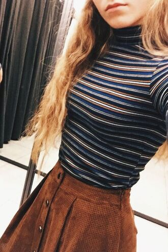 top turtleneck striped top skirt suede skirt trendy brown vintage hipster shirt striped shirt high neck button up skirt brown skirt mini skirt fall outfits fall sweater sweater navy stripes tan clothes indie blouse blue orange white stripped mock neck shirt