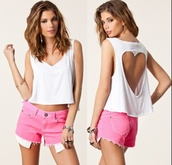 t-shirt,racerback,heart,pretty,girly,white,summer outfits,top,crop tops,heart cut out,tumblr
