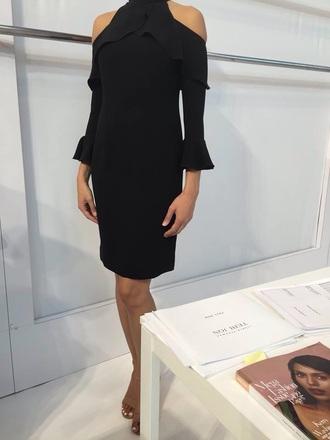 cut out shoulder little black dress dress black cold shoulders high neck draped