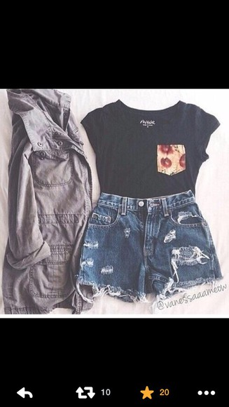 top black jacket cute casual pocket t shirt pattern floral distressed denim shorts denim shorts shorts