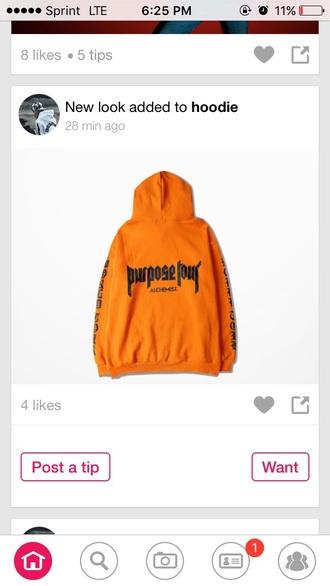 jacket orange orange hoodie hoodie purpose tour justin bieber sweater justin bieber purpose