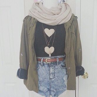 shorts jacket scarf belt t-shirt heart grunge pinterest indie hair accessory hat blouse