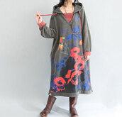dress,Hooded dress,long hooded dress,maxi dress