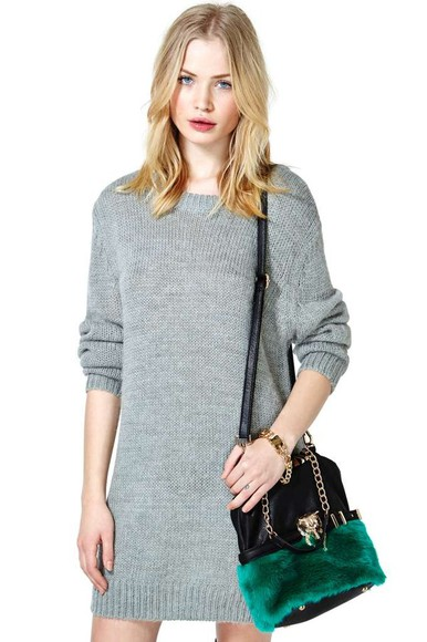 nastygal dress sweater grey dress knit