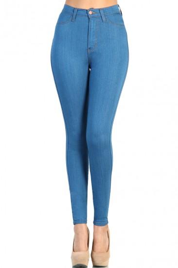 LoveMelrose.com From Harry & Molly | Mint Blue Denim High Waist Jean