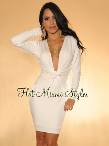 White Plunging V-Neck Knotted Accent Long Sleeves Dress