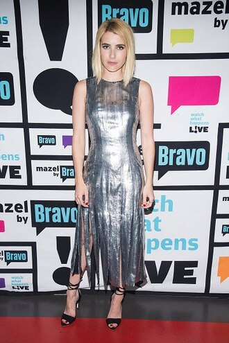 dress silver silver dress metallic sandals emma roberts fringes shoes prom shoes