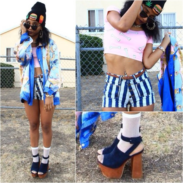 cardigan vintage hip hop 90s style blue oversized hat shorts t-shirt jacket