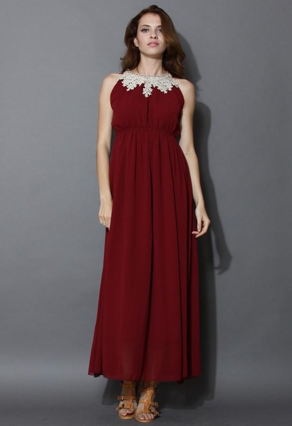 chicwish golden crochet trimmed maxi dress