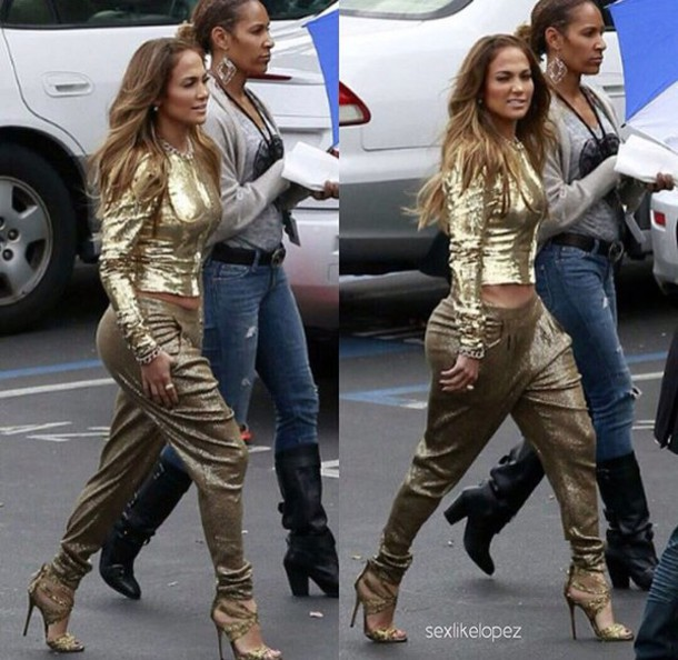 Pants Jennifer Lopez Sexy Blouse Gold Wheretoget
