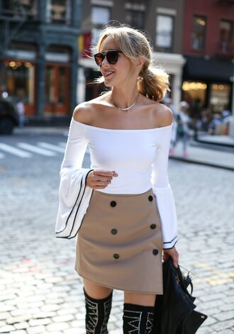 skirt tumblr nude skirt mini skirt wrap skirt button up button up skirt boots over the knee boots thigh high boots top white top bell sleeves off the shoulder off the shoulder top sunglasses necklace jewels jewelry