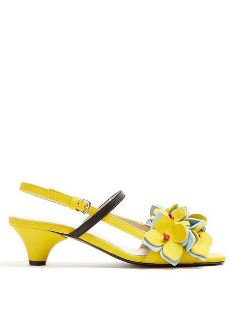MARNI embellished sandals leather sandals floral leather yellow shoes