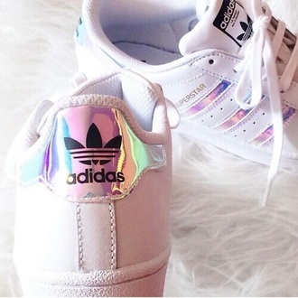 shoes adidas superstar silver stripes. adidas shiny holographic grumge cute pastel japan stripes 90s style