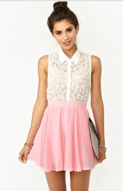 Skirt Dress Pink Skirt White Flower Top Skater Skirt