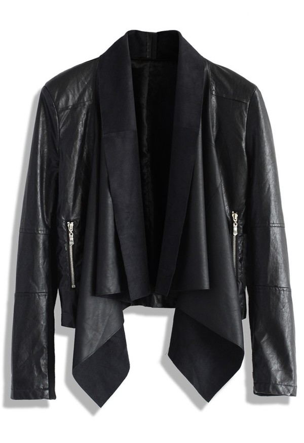 chicwish leather jacket waterfall drape