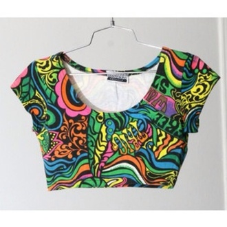shirt 90s style crop tops psychedelic neon black