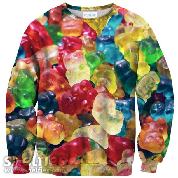 sweater gummy bears food comfy