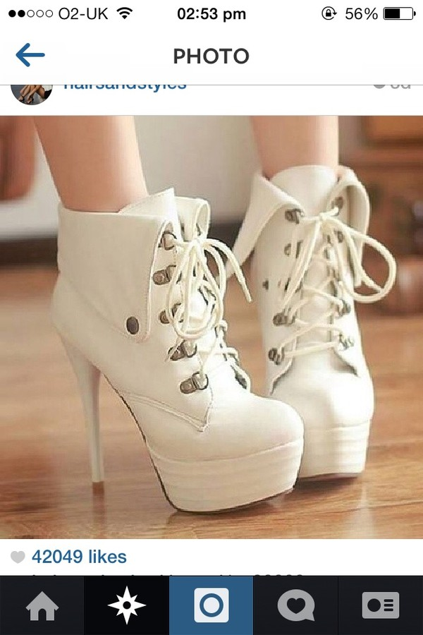 shoes heels bootheels white black boots