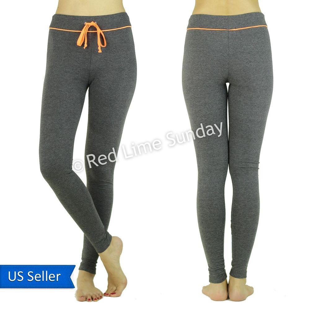 Gray cotton blend yoga casual drawstring pants jogger leggings w orange string