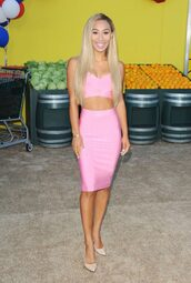 skirt,top,pink,mylifeaseva,pumps,two-piece,crop tops,bodycon,pencil skirt,summer outfits,pink dress,two piece dress set,party dress,sexy party dresses,sexy,sexy dress,party outfits,sexy outfit,bodycon dress,summer dress,classy dress,elegant dress,cocktail dress,cute,cute dress,girly,girly dress,celebrity style,celebrity,celebstyle for less,pool party,date outfit,birthday dress,summer holidays,romantic,romantic dress,romantic summer dress,clubwear,club dress,wedding outfits,wedding guest,wedding clothes,dope