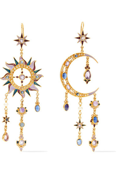 Percossi Papi earrings gold purple 24 jewels
