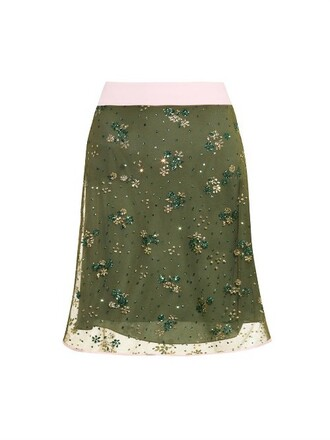 skirt tulle skirt embellished floral light green