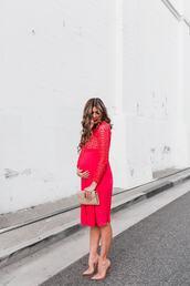 mint arrow,blogger,dress,bag,shoes,red dress,maternity dress,maternity,nude heels,ysl bag,clutch